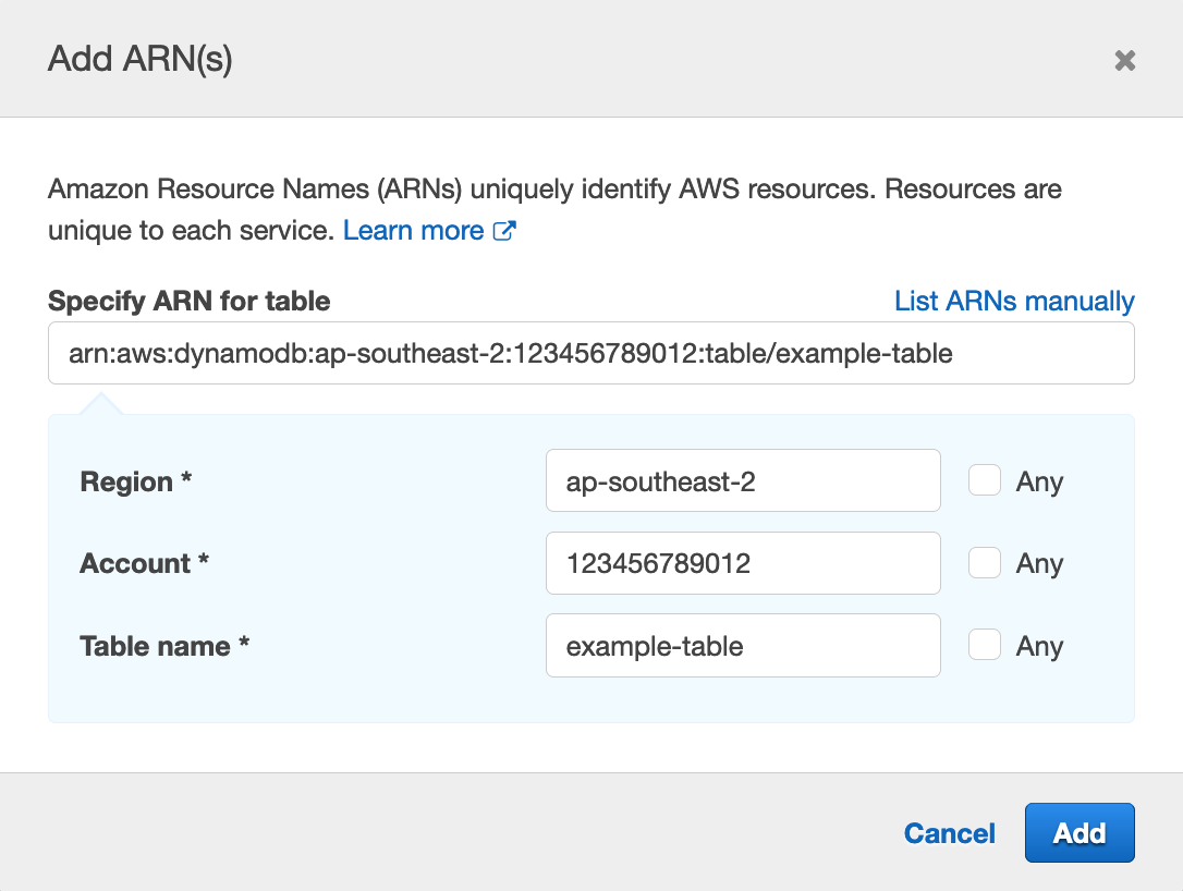 Figure 10: Enter Region, account, and table name