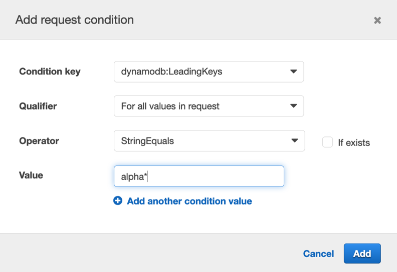 Figure 11: Add request conditions