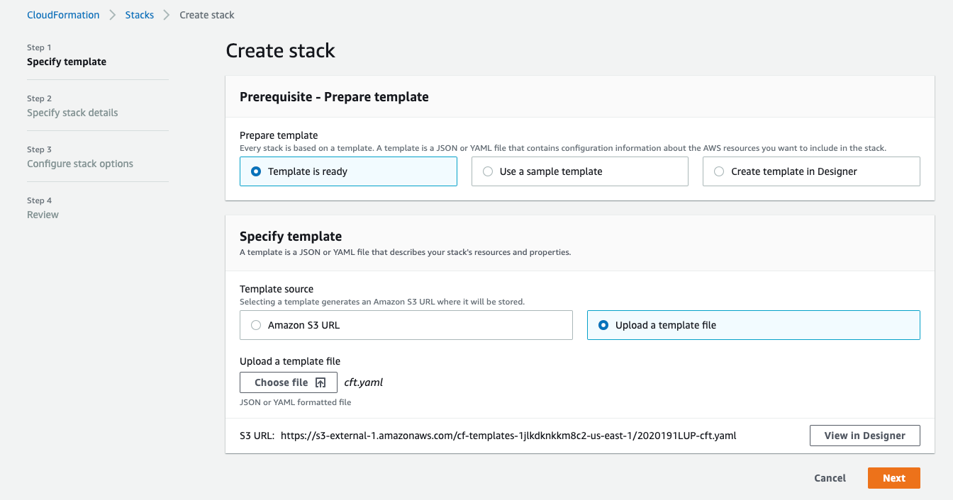 Figure 2 - Uploading the CloudFormation template to be deployed