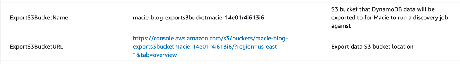 Figure 25: CloudFormation output information for the S3 buckets that the DynamoDB data was exported to