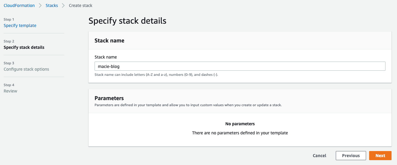 Figure 3: Naming your CloudFormation stack