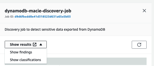 Figure 38: Option to view discovery job findings