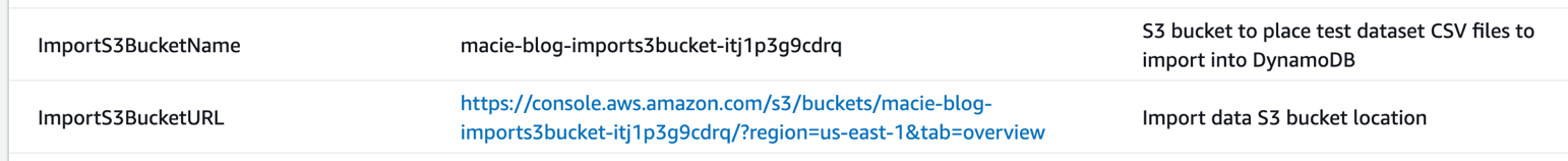 Figure 7: S3 bucket output values for the CloudFormation stack