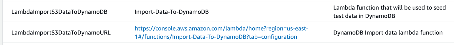 Figure 9: CloudFormation output information for the People DynamoDB table