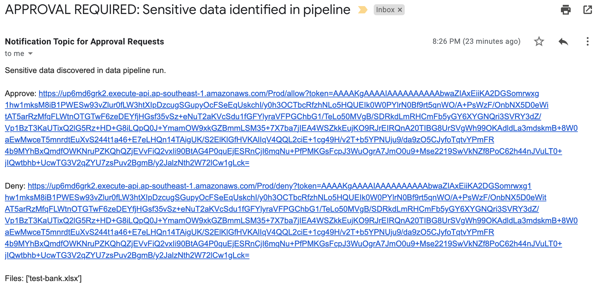 Figure 6: Sensitive data identified email