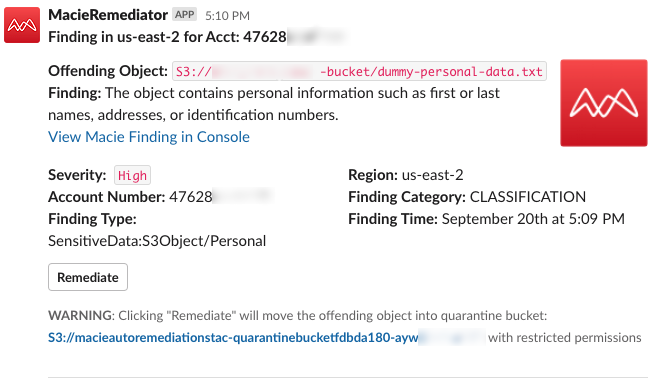 Figure 11: Slack notification for human review of the file containing dummy personal data