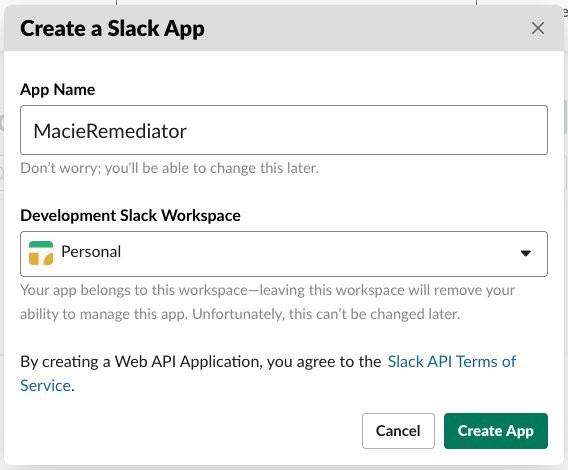 Figure 2: Create a Slack app