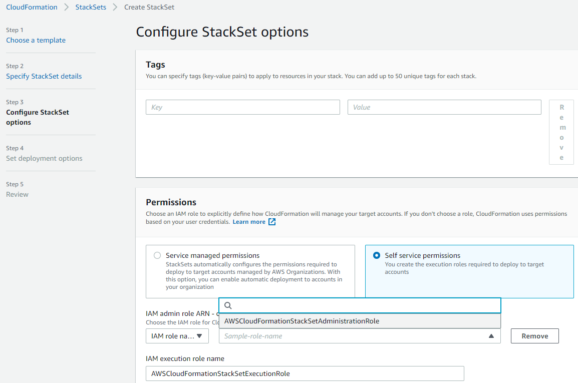 Figure 5: Permission mode to be selected for stack set deployment