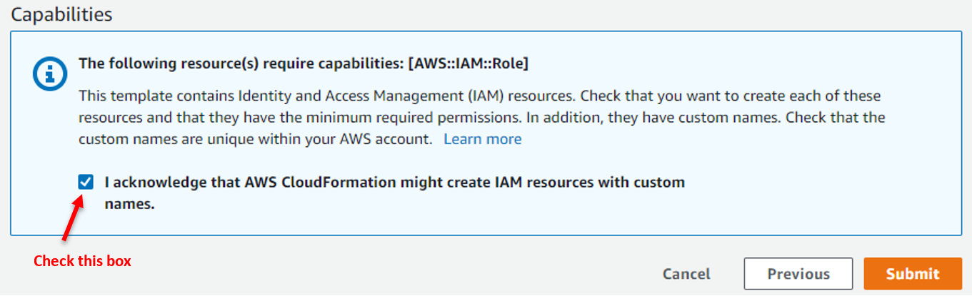 Figure 8: Acknowledge IAM resources creation by AWS CloudFormation