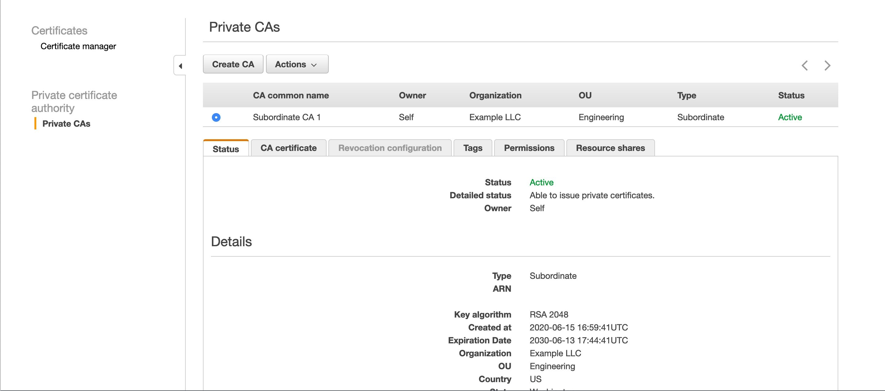 Figure 2: A private CA in the ACM PCA console