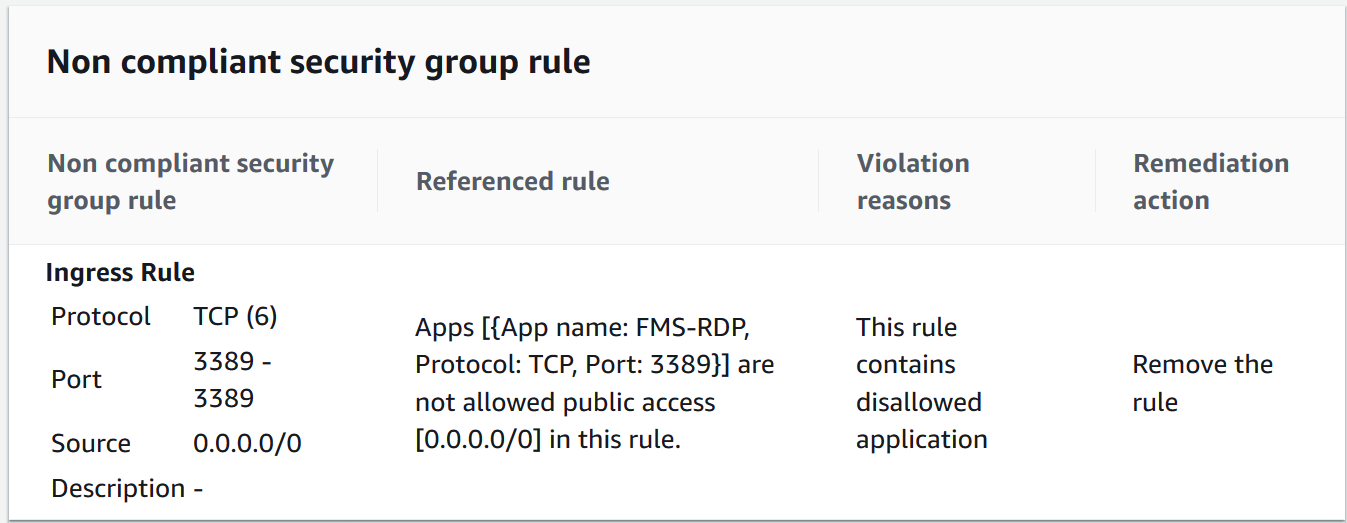 Figure 13: Firewall Manager non compliant security group rule