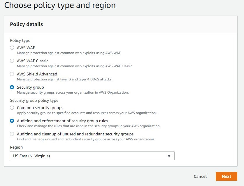 Figure 2: Firewall Manager policy type and Region