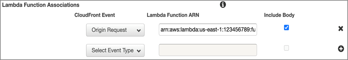Figure 3: Configuration of Lambda@Edge in CloudFront