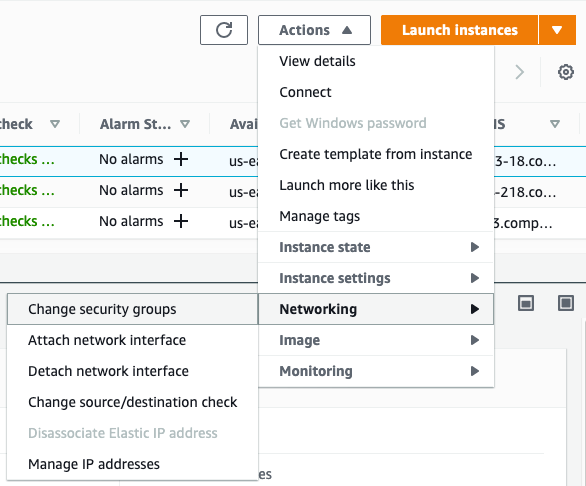 Figure 9: Choose Actions > Networking > Change security groups