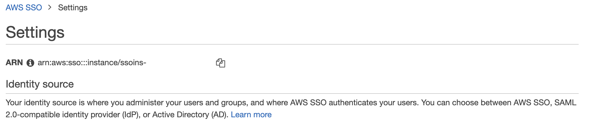 Figure 2: AWS SSO ID ARN