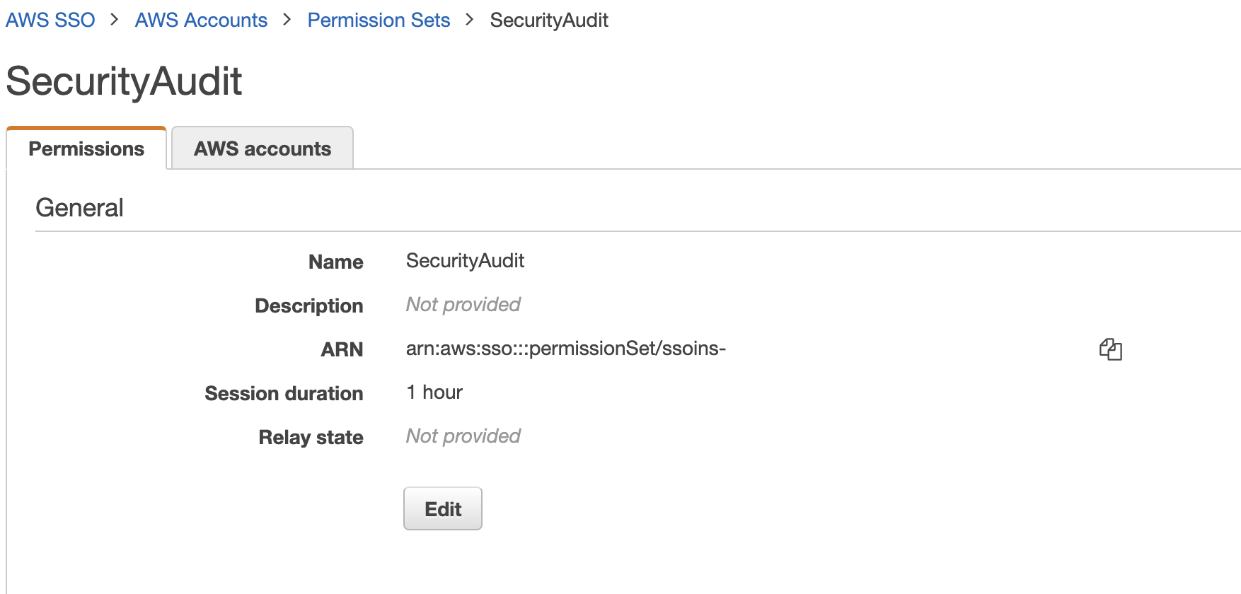 Figure 3: Permission set ARN