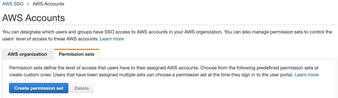 Figure 4: AWS SSO permission sets menu