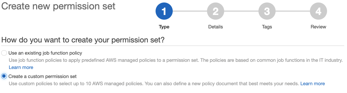 Figure 5: Create a new permission set