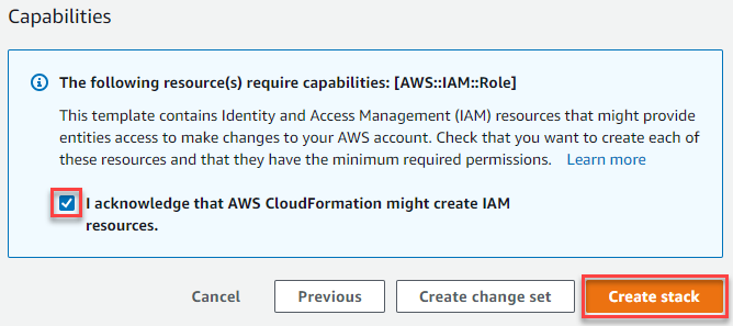 Figure 7: AWS CloudFormation capabilities acknowledgement