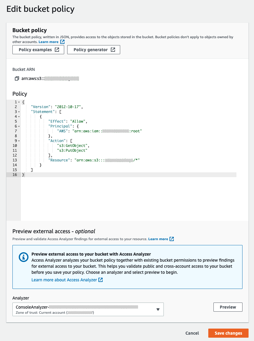 Figure 1: Preview access to your S3 bucket in the S3 console