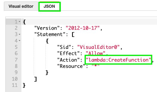 Figure 5: Viewing the action from the JSON tab