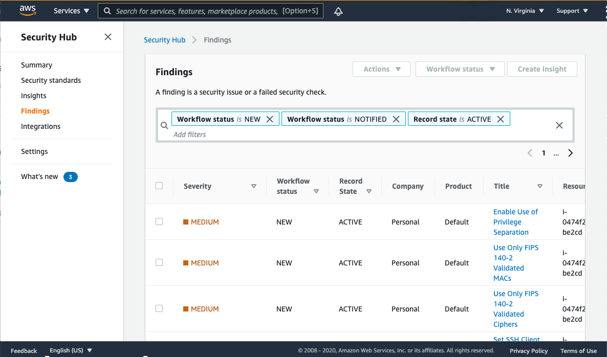 Figure 4: The findings in the Security Hub console