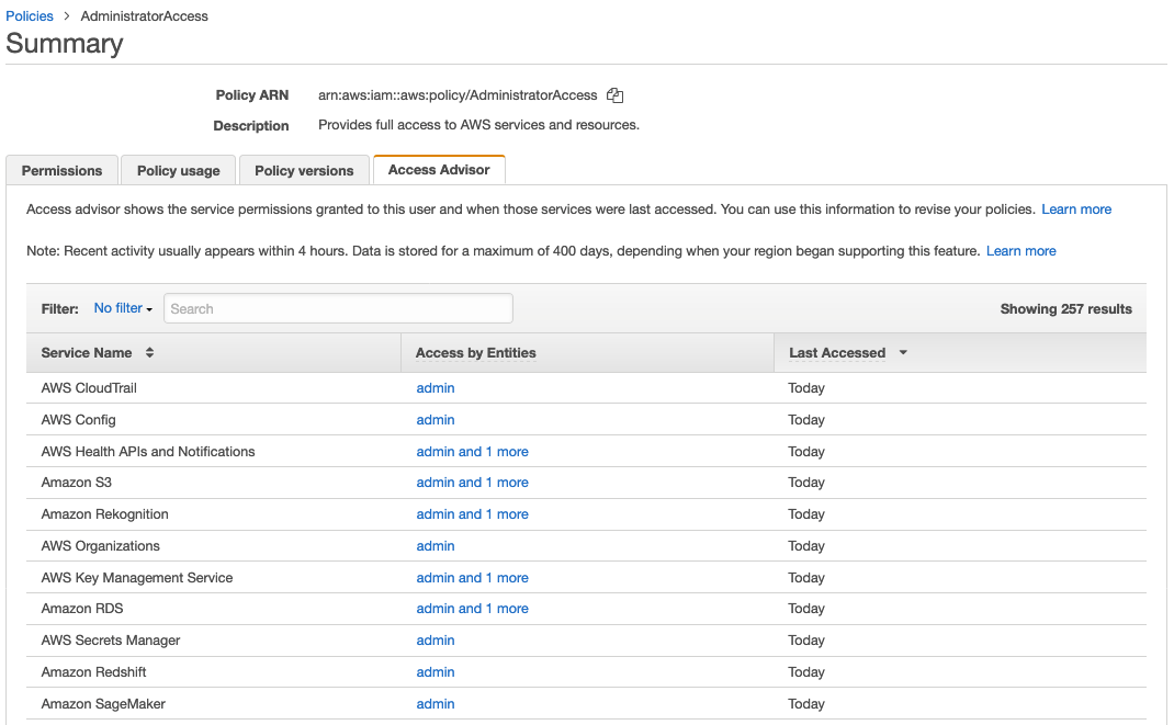 Figure 6: Access Advisor displaying AdministratorAccess managed policy