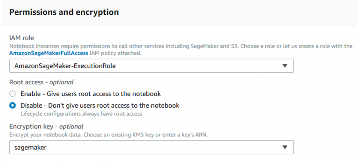 Figure 7: Specify an execution role with encrypt/decrypt permissions, and enable encryption for attached data volumes