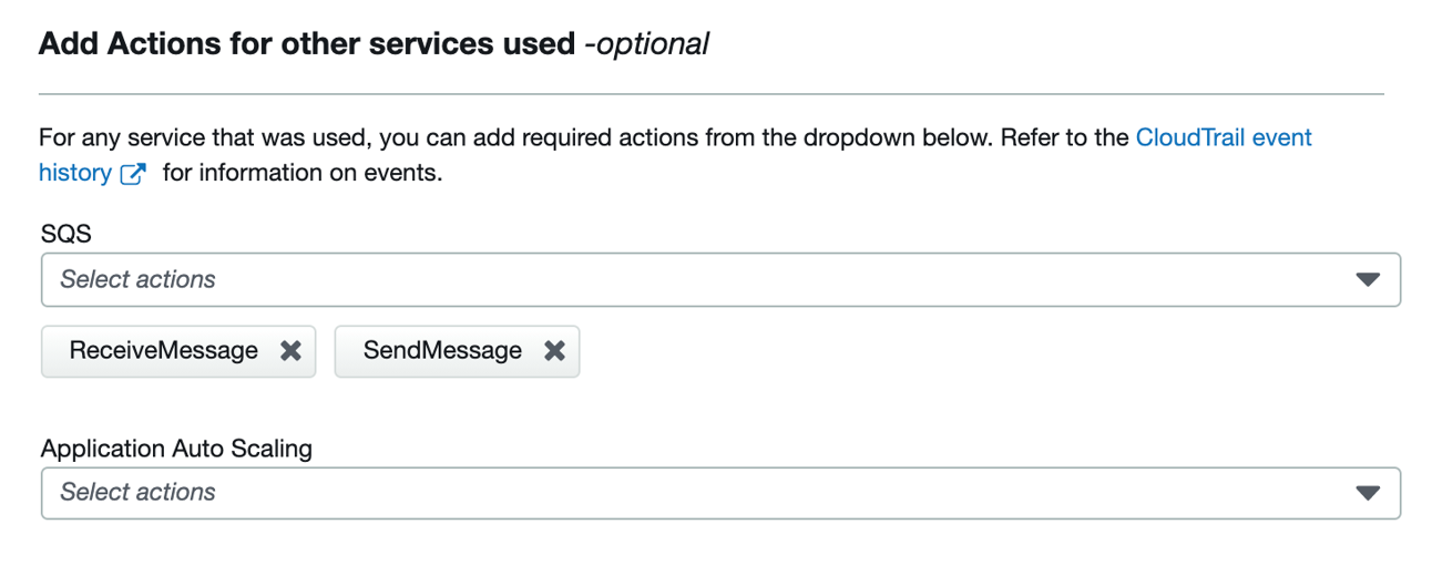 Figure 6: Add additional actions based on services used