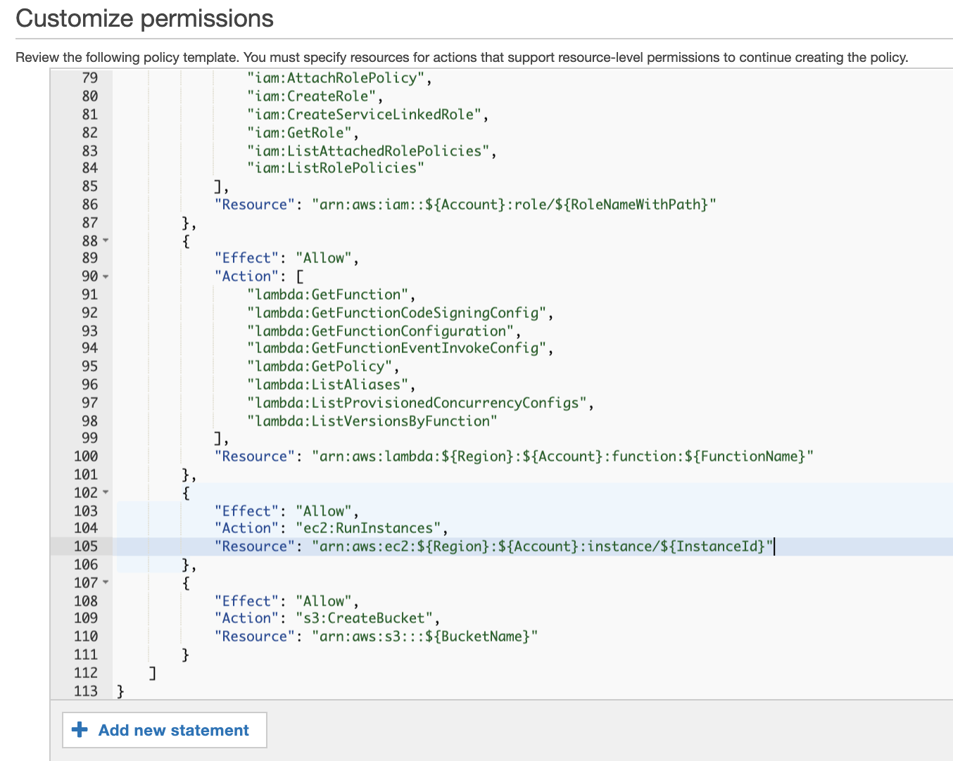 Figure 7: Customize permissions on the policy