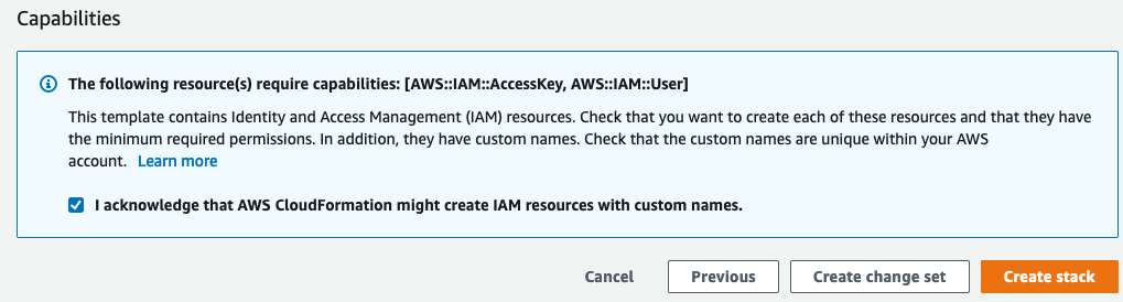 Figure 2: Acknowledge creation of IAM resources