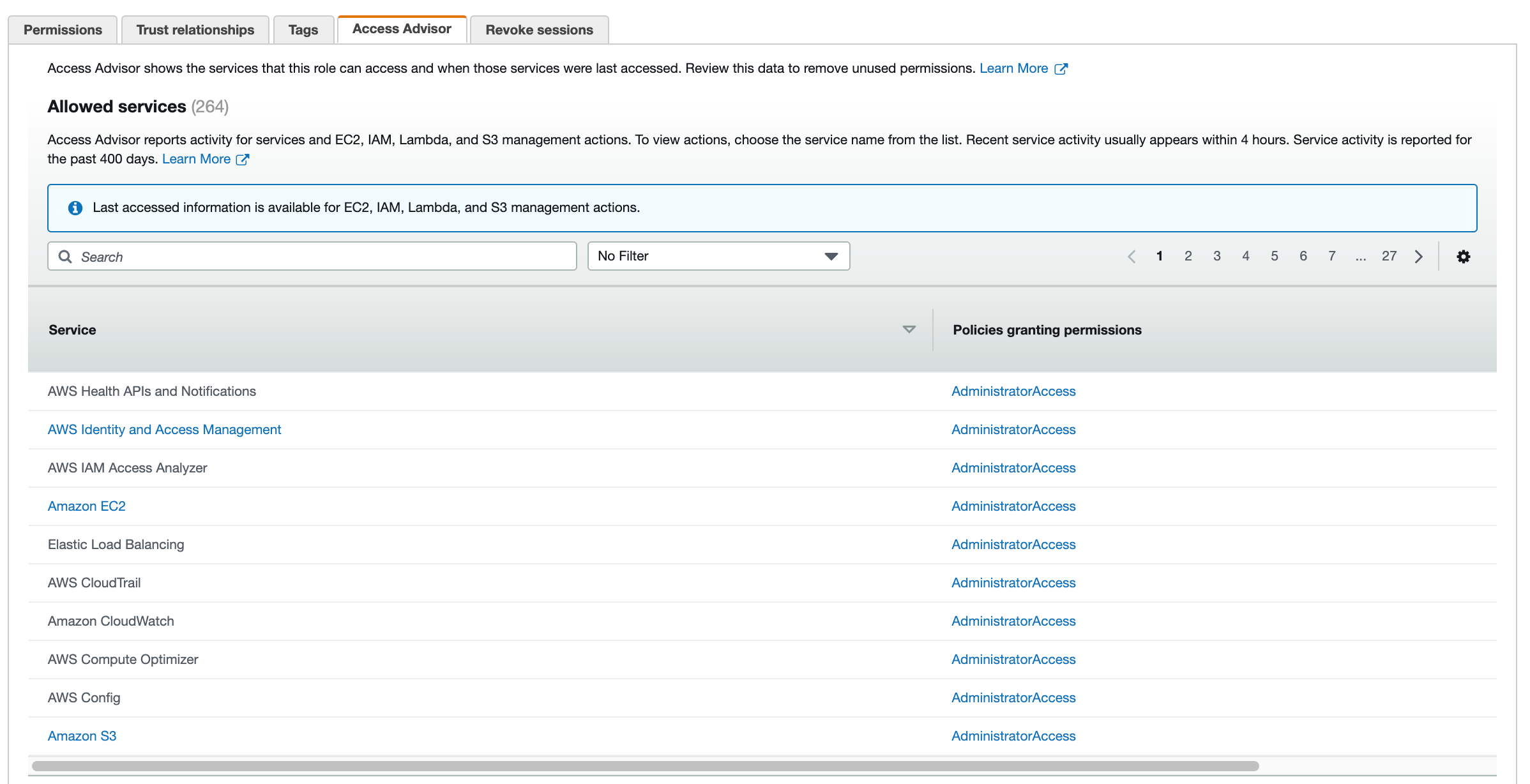 Figure 1: Access Advisor tab – list of AWS services to which the role has permissions