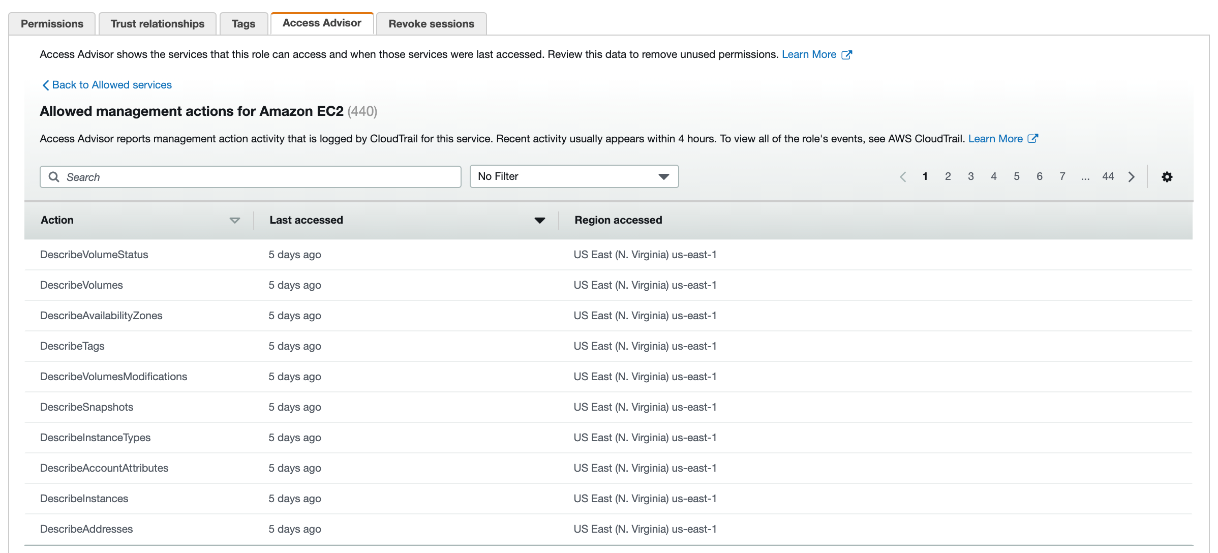 Figure 2: Access Advisor tab – list of EC2 actions accessed recently
