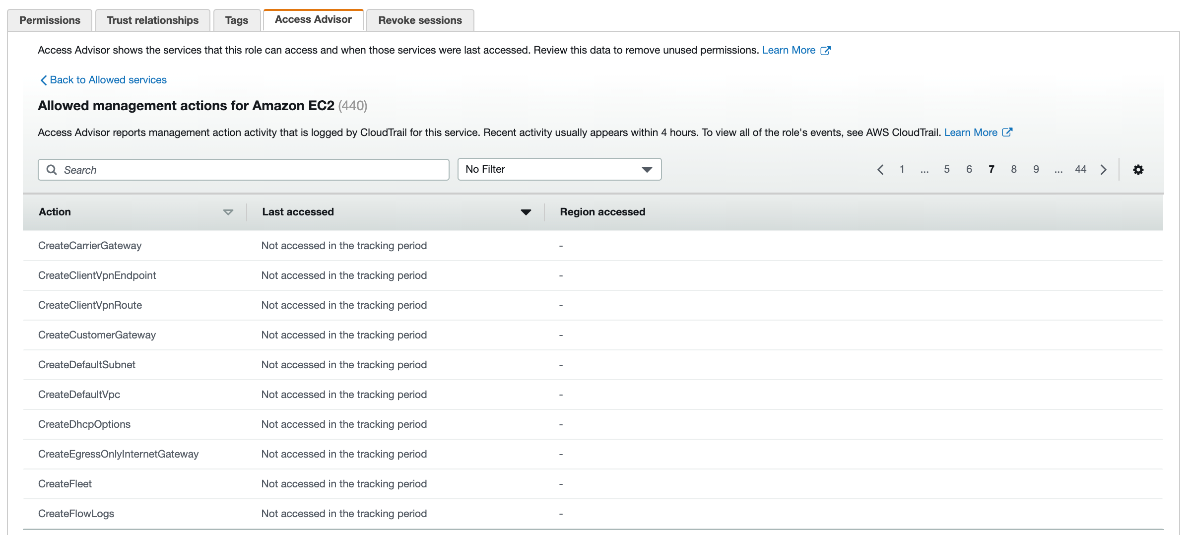 Figure 3: Access Advisor tab – list of EC2 actions not accessed recently
