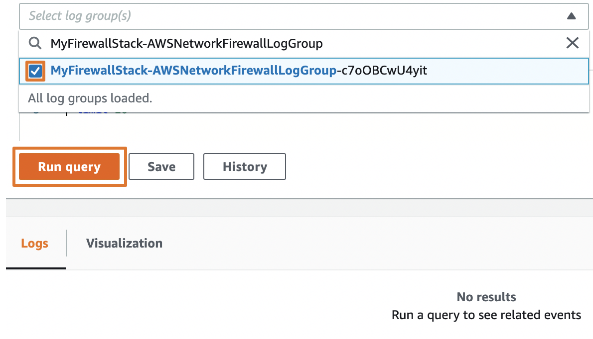 Figure 10: Run a query against the firewall's log group