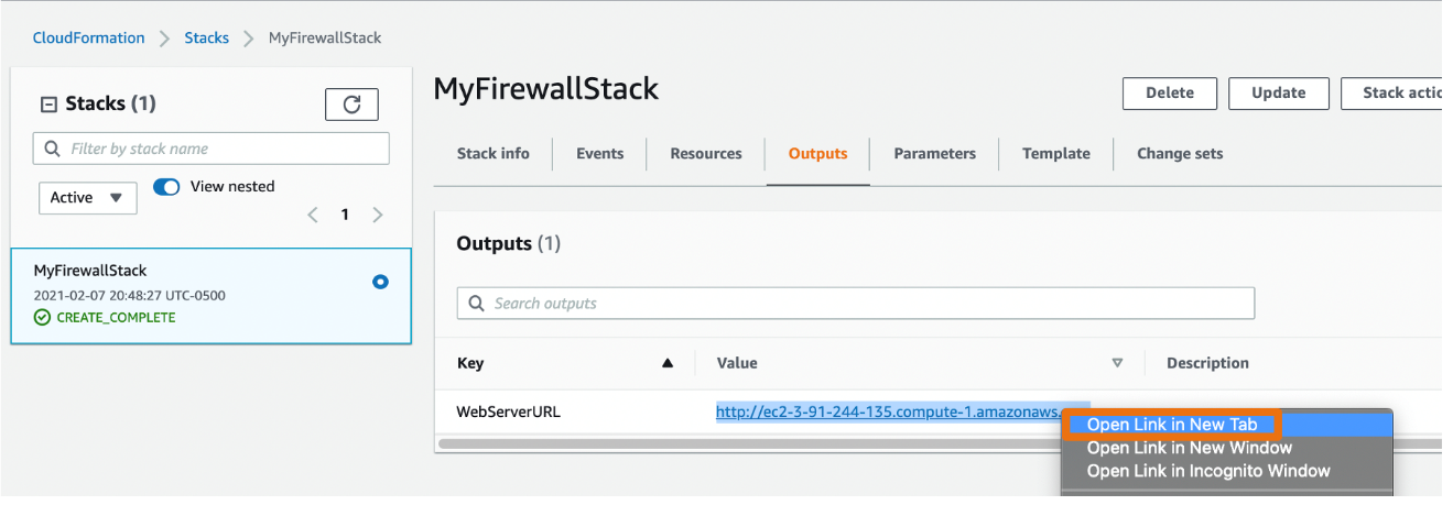 Figure 3: Firewall stack's outputs tab
