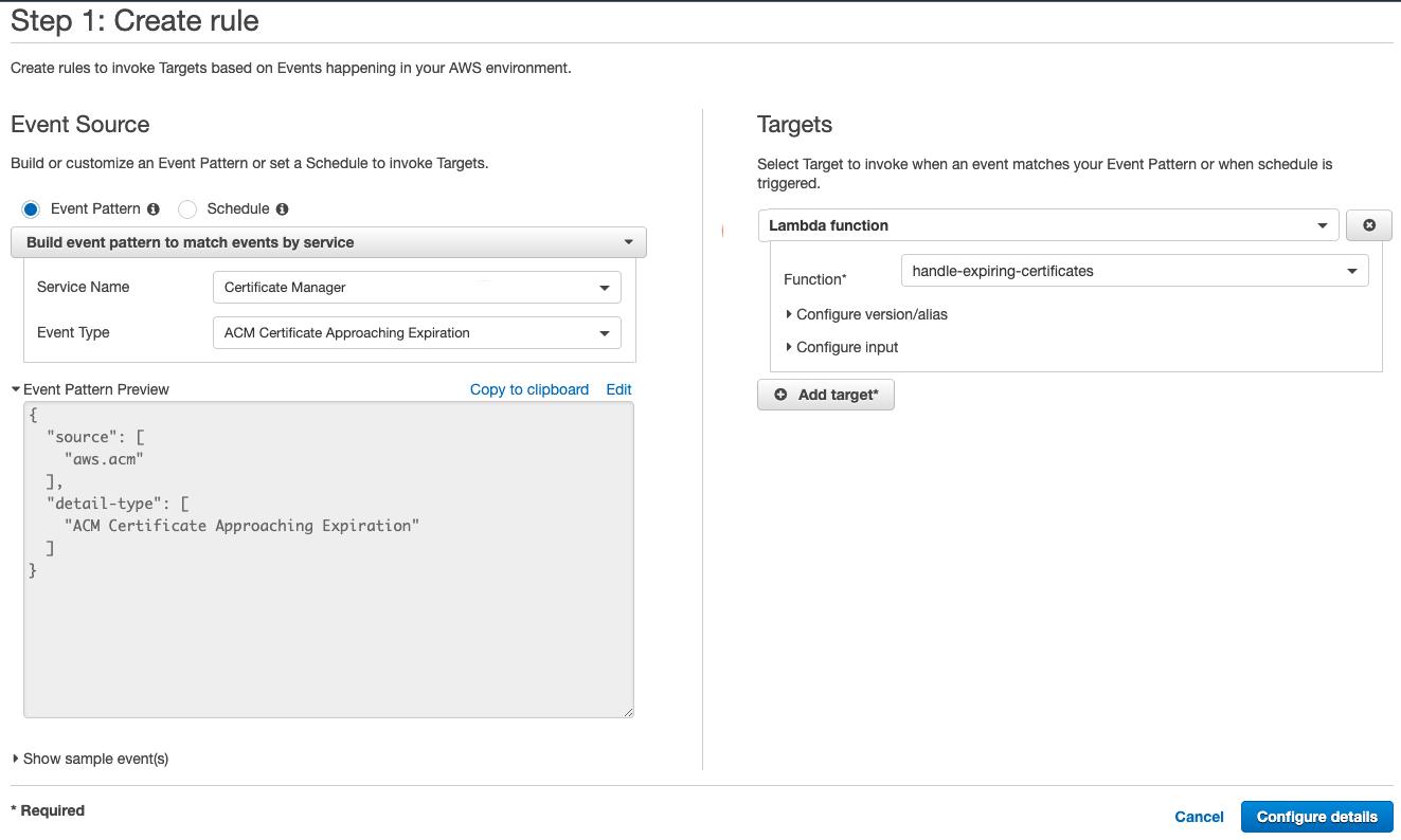 Figure 4: Create an event-based CloudWatch rule