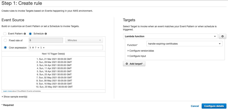 Figure 5: Create a scheduled CloudWatch rule