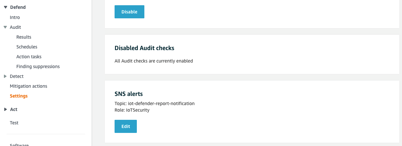 Figure 3: SNS alert settings for AWS IoT Device Defender