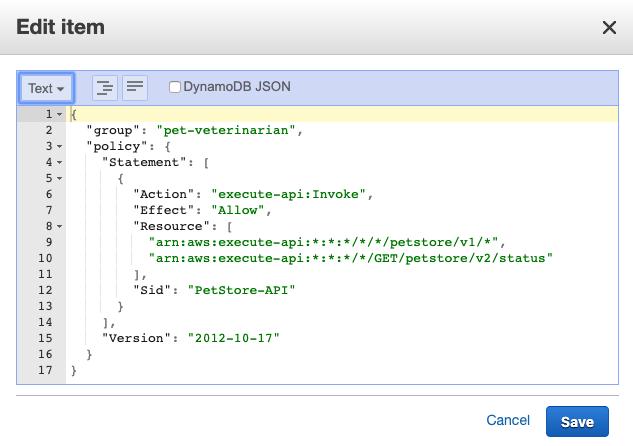 Figure 3: DynamoDB item