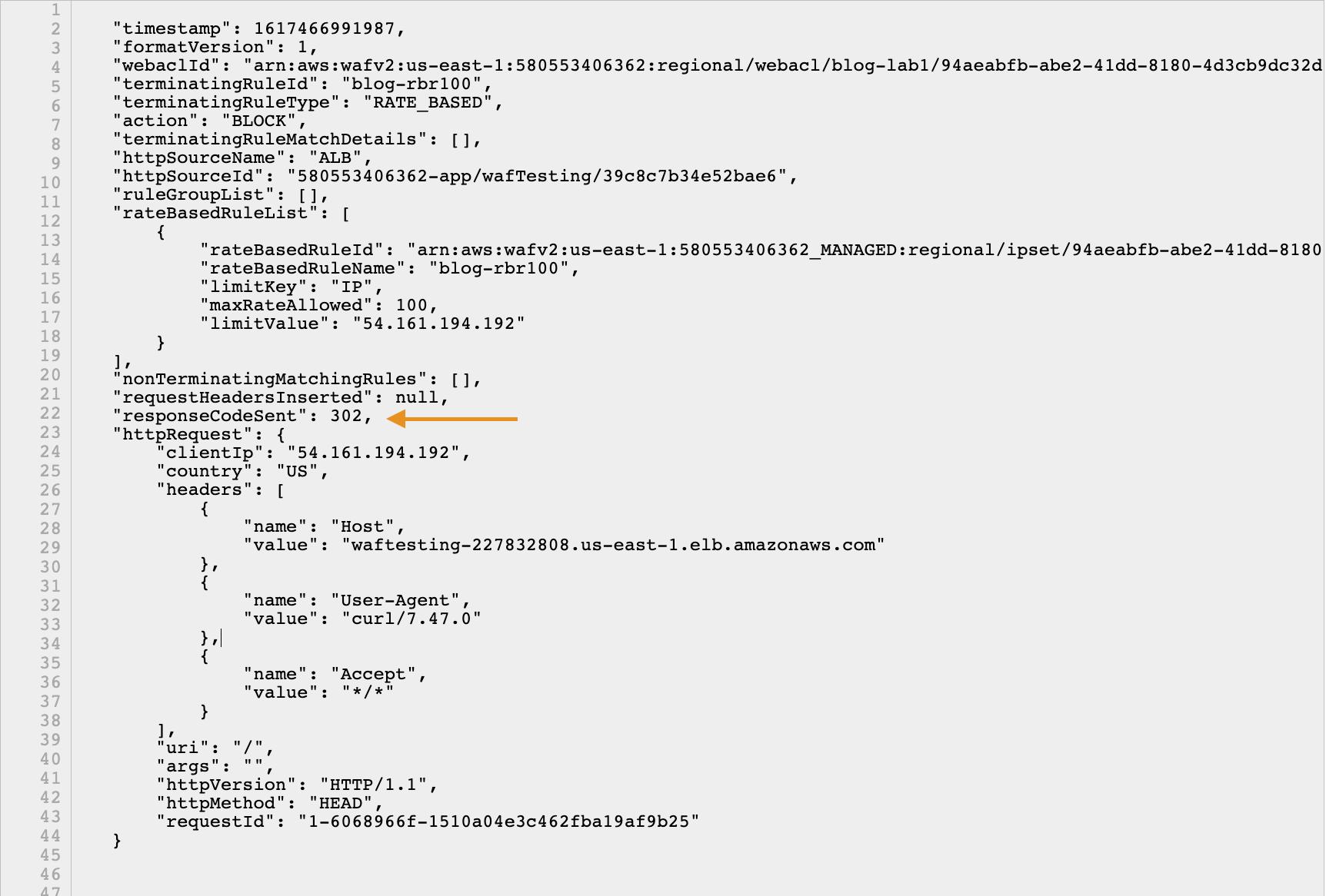 Figure 3: Verifying the AWS WAF logs for custom response