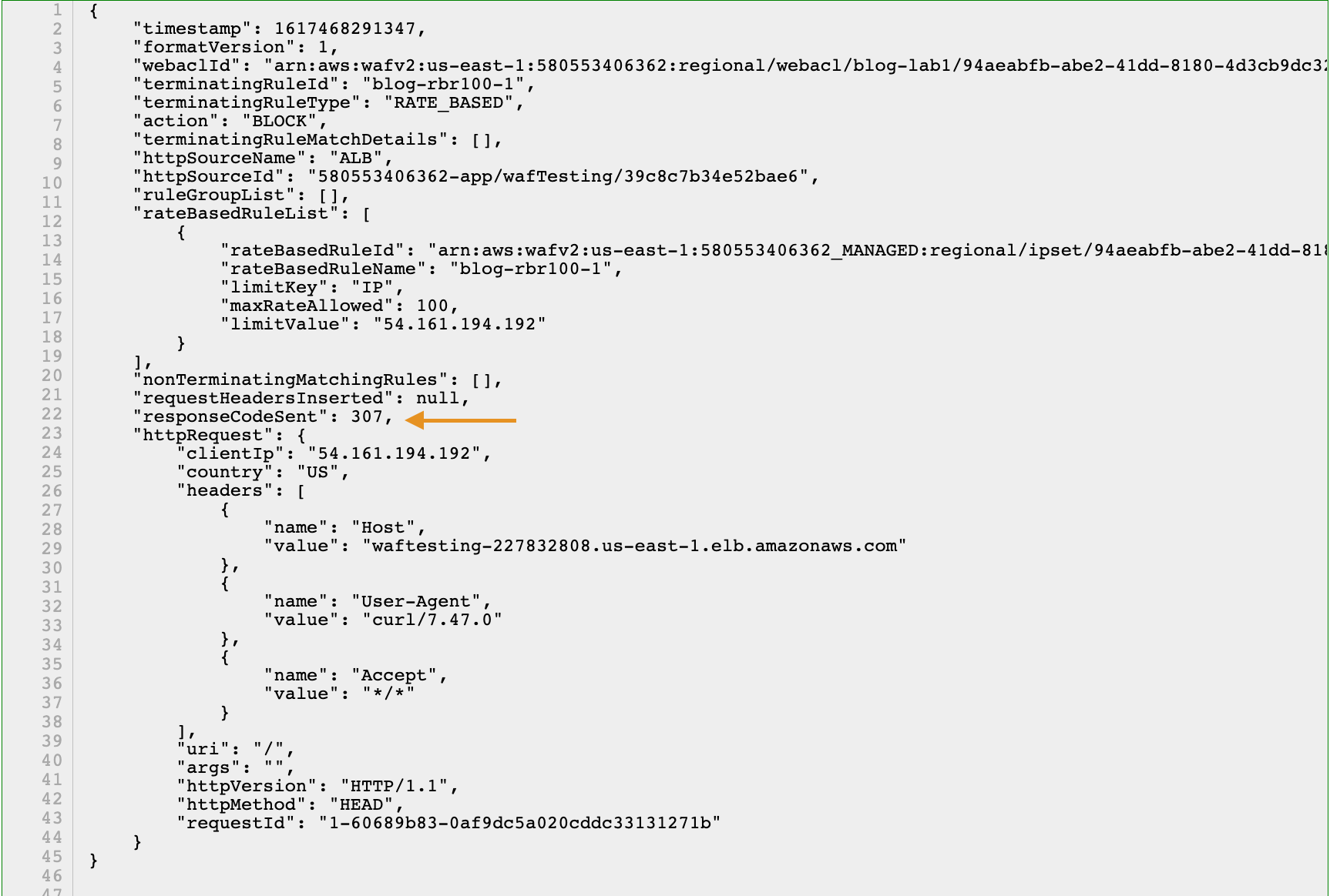 Figure 7: Verifying responseCodeSent in the AWS WAF logs