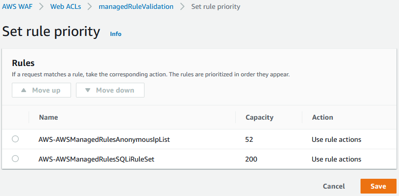 Figure 4: Example with suggested use of AWS WAF web ACL priority