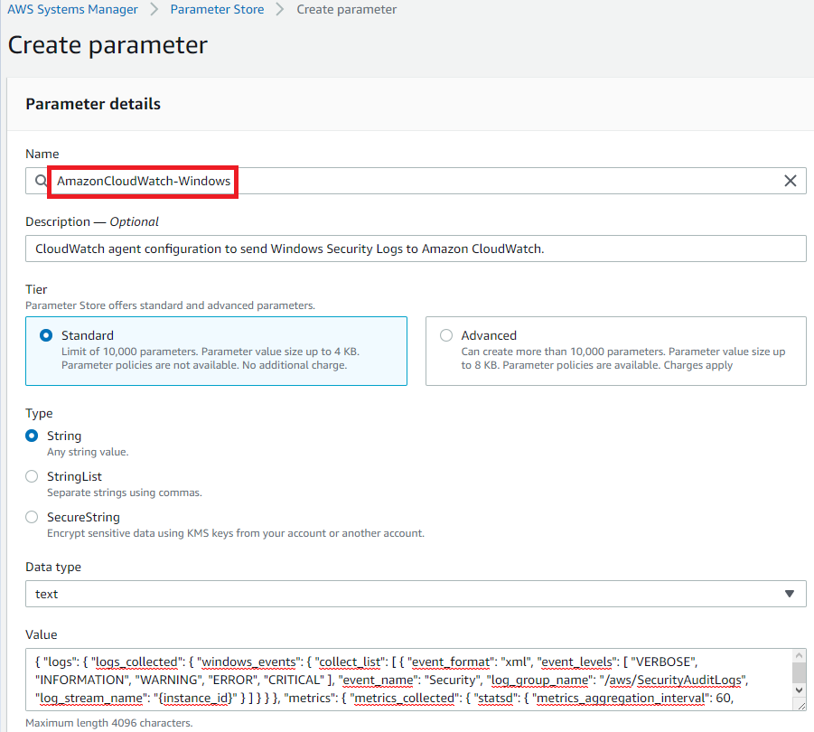 Figure 2: Create the System Manager parameter for the CloudWatch agent