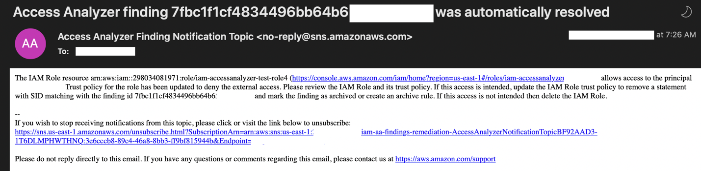 Figure 3: Sample resolution email generated by the solution