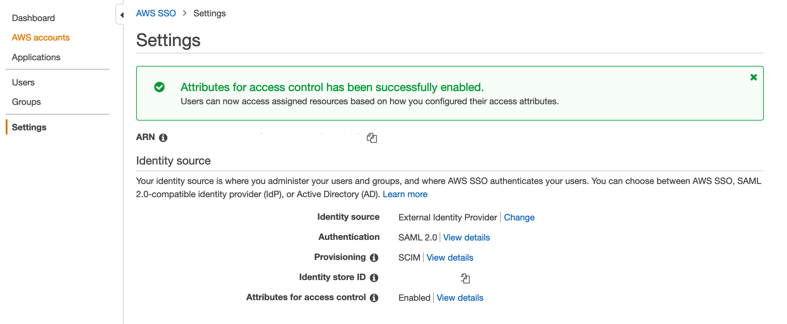 Figure 1: Turn on ABAC in AWS SSO