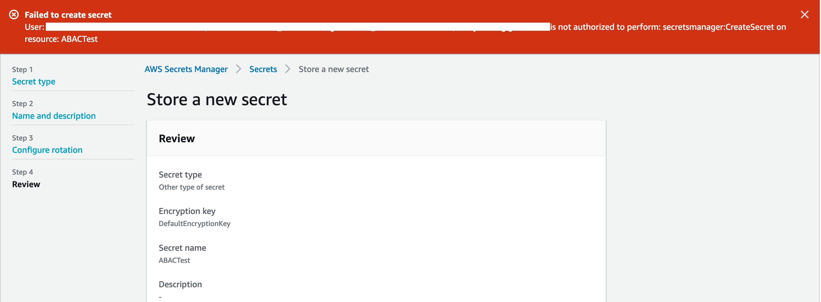 Figure 7: Failure to create a secret (no attributes)