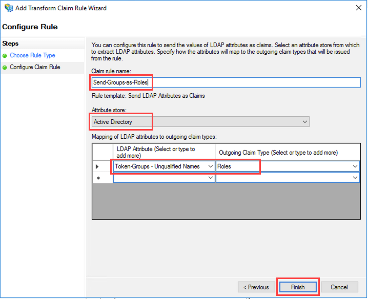 Figure 13: Set claim rule for Active Directory groups as Roles