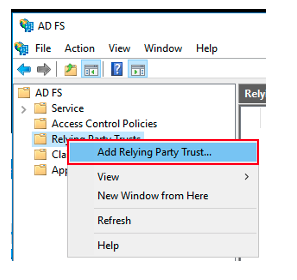 Figure 4: Set up a relying party trust