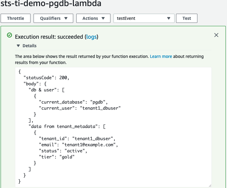 Figure 12: The result of running the sts-ti-demo-pgdb-lambda function
